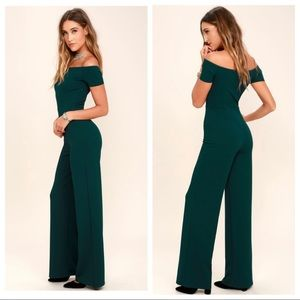 ALLEYOOP DARK GREEN OFF-THE-SHOULDER JUMPSUIT